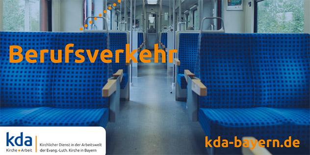 Eine leere Regionalbahn, Titel: 'Berufsverkehr'